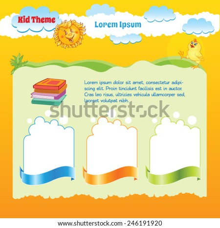 Yellow background for Kid template - stock vector