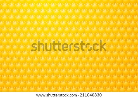 Yellow background motive bee honeycombs - stock vector