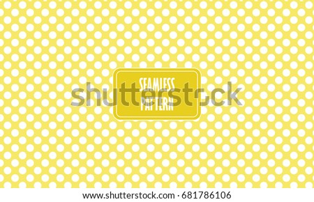 Yellow Background Seamless Texture With White Polka Dots Pattern In Baby Wallpaper