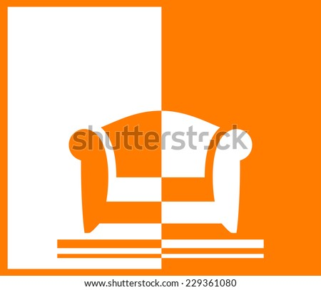 yellow background with armchair for room or office interior - stock vector