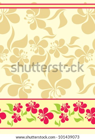 yellow background with red flowers vector background