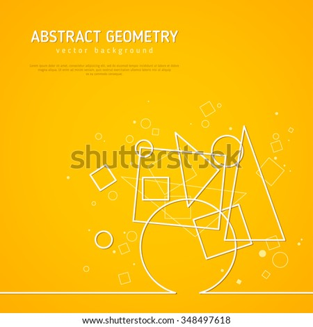Yellow background with triangle,circle, square shapes. Abstract form. Vector Illustration. Abstract molecule design. Technology background with connected lines for business presentation - stock vector