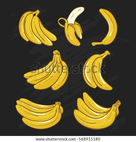Yellow Bananas vector illustration on black background.