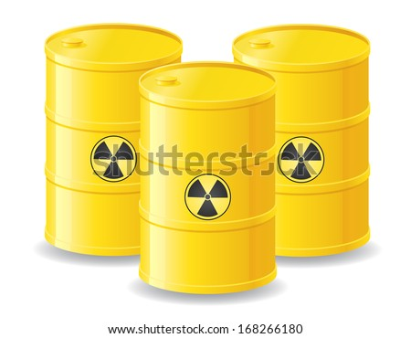 yellow barrels of radioactive waste vector illustration isolated on white background