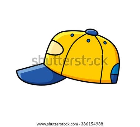 Yellow baseball cap. - stock vector