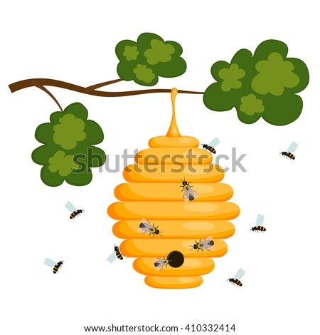 Yellow Bee Hive On A White Background Isolate Stock Vector Illustration Of