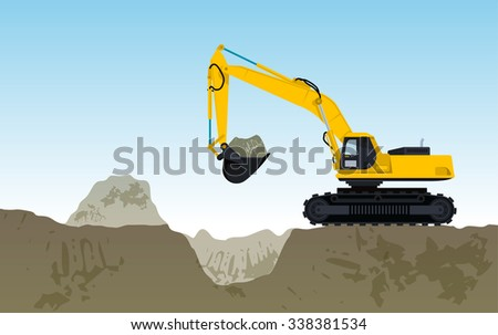 Yellow big digger builds roads gigging of hole ground works digging of sand coal waste rock and gravel illustration for internet banner poster or icon flatten isolated illustration master vector