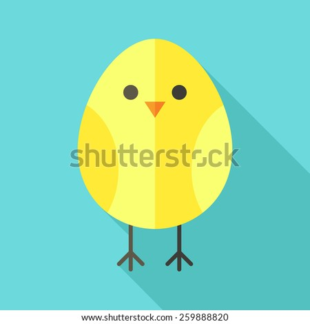 Yellow bird chicken. Flat stylized illustration with shadow - stock vector