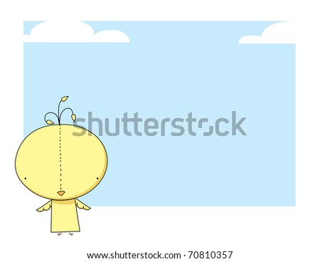 Yellow bird on sky background - stock vector