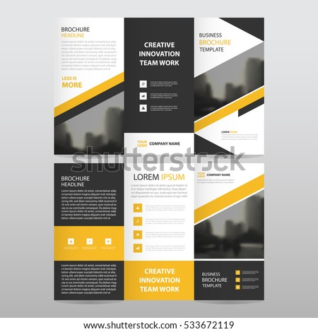 yellow black abstract business trifold leaflet brochure flyer report template vector minimal flat design set