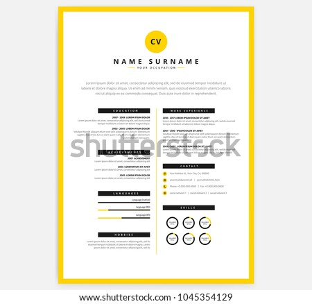 yellow black cv resume template vectorのベクター画像素材 1045354129