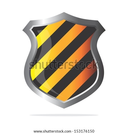 yellow black stripe glossy shield - stock vector