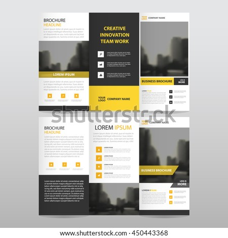 Tri fold brochure template stock images royalty free for Black brochure template
