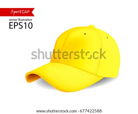 yellow blank Baseball cup for printing.Vector sportswear and uniform