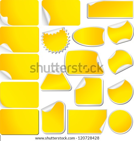 Yellow Blank Sticky Curled Paper Set Isolated on White. Vector
