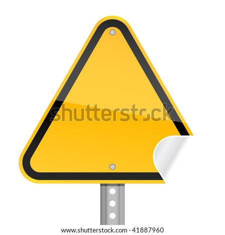 Yellow blank yellow road warning sign with curved corner - stock vector