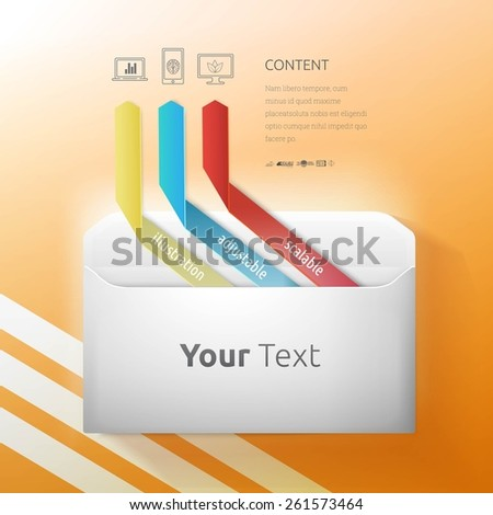 Yellow Blue and Red Arrows Break out From an DL Size Vector Envelope Illustration, Futuristic Info Chart For Your Design. Computer Technology Symbol Set Included. - stock vector