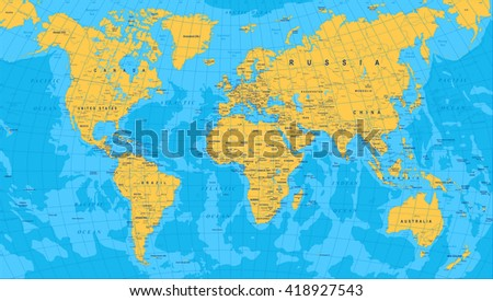 Yellow blue world map borders countries stock vector 418927543 yellow blue world map borders countries and cities illustration highly detailed colored vector gumiabroncs Image collections