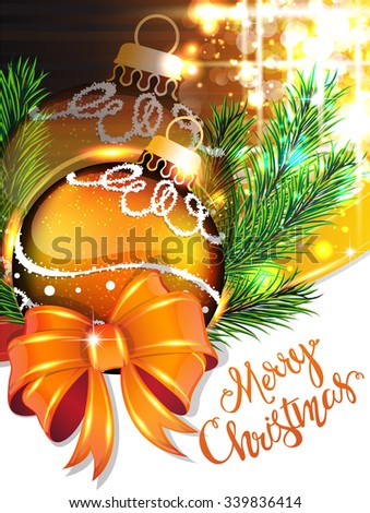 Yellow bow and Christmas bauble with sparkles and fir branches on holiday background - stock vector