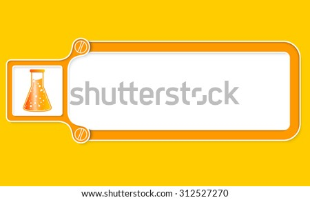 Yellow box with white frame for your text and test tube - stock vector