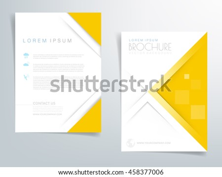 Yellow Brochure Template Flyer Background Header Stock Vector