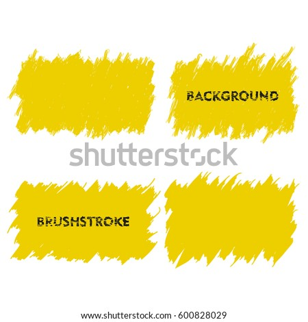 yellow brush stroke frame set flat abstract background for text design element rectangle - Yellow Frame