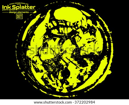 Yellow brush stroke in the form of a circle. Drawing created in ink sketch handmade technique. Isolated on black background