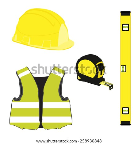 Yellow building set with bubble level, building helmet, vest, tape measure, protective workwear - stock vector