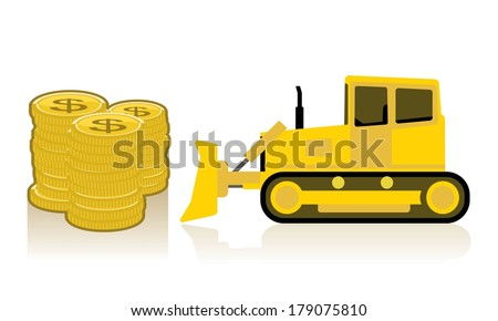 yellow bulldozer pushing pile of coins  - stock vector