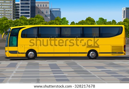 Yellow bus on city street - stock vector