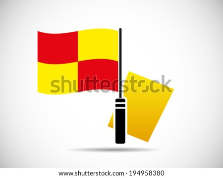 Yellow Card Foul Linesman Flags - stock vector
