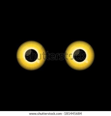 Yellow Cat eyes in dark night. - stock vector