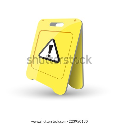 Yellow caution sign - stock vector