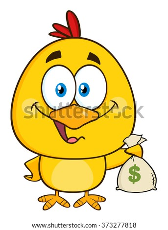 Yellow Chick Cartoon Character Holding Money Bag. Vector Illustration Isolated On White - stock vector