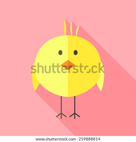Yellow chicken. Flat stylized illustration with shadow - stock vector