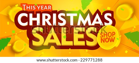 Yellow christmas sale banner. Vector - stock vector
