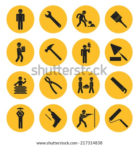 Yellow Circle Construction and Building Icons with Various Tools and Workers - stock vector