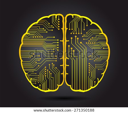 yellow circuit board brain. Abstract Technology background for computer graphic website internet and business. vector illustration. black background - stock vector