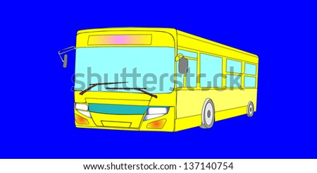 yellow city bus isolated on blue background