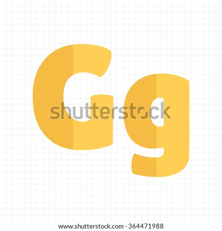 yellow color alphabet letters G - stock vector