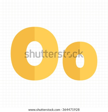 yellow color alphabet letters O - stock vector