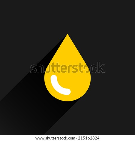 Yellow color drop icon with black long shadow on dark gray background. Gold oil sign in simple, solid, plain, flat style. This vector illustration graphic web design graphic element saved in 8 eps - stock vector