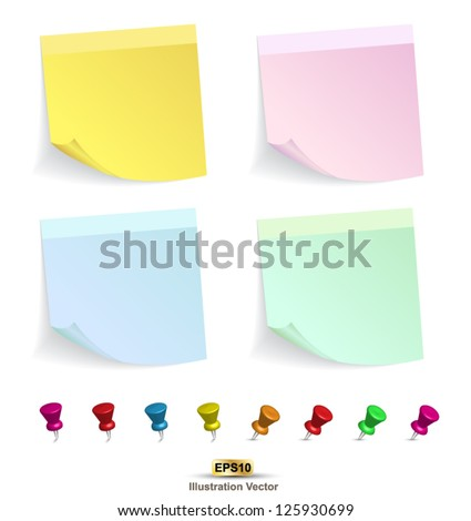 Yellow color set and pin  on white background vector illustration