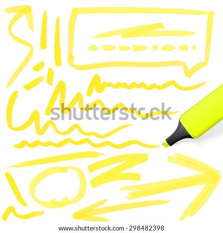 yellow colored highlighter with different hand drawn markings