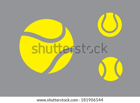 yellow colorful Tennis balls symbol icon set concept design. three different realistic yellow colored balls collection set with grey background - art vector illustration