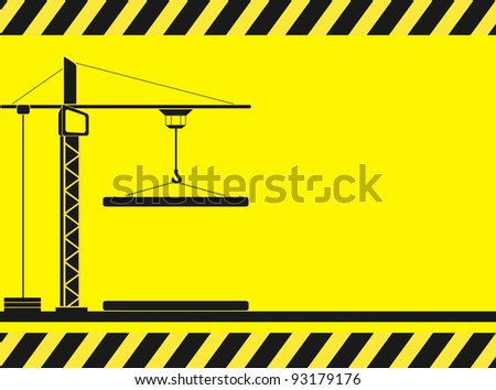 yellow construction background with crane silhouette and space for text - stock vector