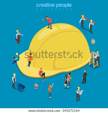 Yellow construction helmet hat cap flat 3d isometry isometric building business concept web vector illustration. Creative people collection. - stock vector