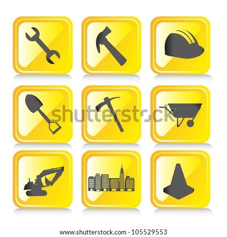 yellow construction icons with shadow over white background. vector