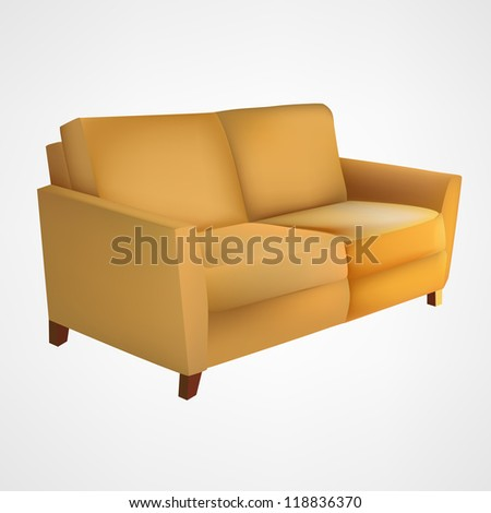 Yellow couch - stock vector