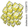 Yellow cubes mosaic - stock photo
